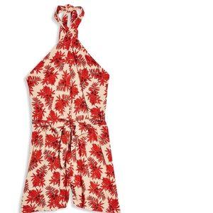 TopShop Palm Print Halter Mini Dress Size 2